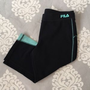 Fila Sport - Black & Teal Capris Leggings